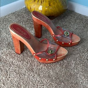 Coach size 6.5 Cagney Red Clear Wood Heels